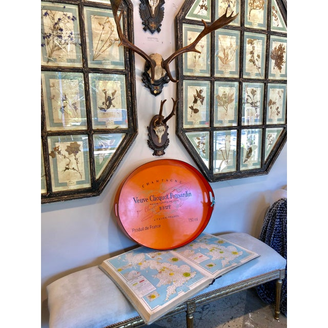 French Vintage Handmade Veuve Clicquot Champagne Label Ovular Tole Tray For Sale - Image 3 of 11