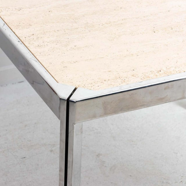 Late 20th Century 20th Century Travertine and Nickel Dining/Games Table For Sale - Image 5 of 10