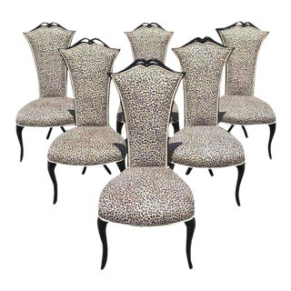 1960s French Mid-Century Modern Ebonized Tall Back Dining Chairs-Set of 6 For Sale