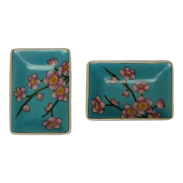 Quality Asian Artist Hand Painted Porcelain Rectangular Display Dishes - a Pair For Sale