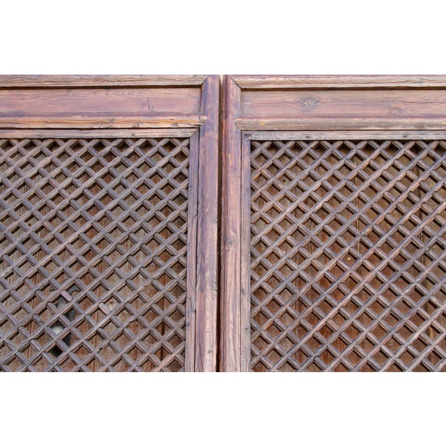 Asian Rustic Chinese Lattice Panels Set of 2 For Sale - Image 3 of 7