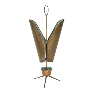 Italian Brass and Copper Umbrella Stand For Sale