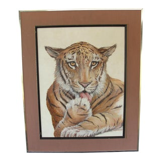 Vintage Oil on Board Painting of Bengal Tiger by Wright Huntley