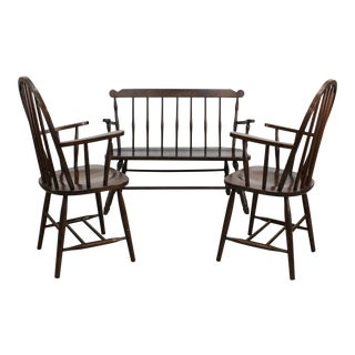 Vintage Spindle Back Chairs Set of 3 For Sale