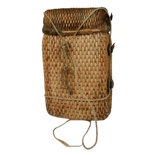 20th Century Antique Chinese Hanging Willow Woven Fish Basket For Sale