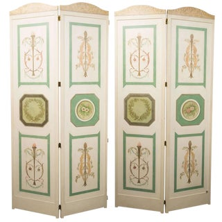 Hand-Painted Custom Adams Style, Four-Panel Screen For Sale