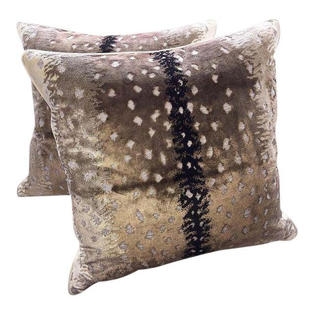 Scalamandre Belgian Antelope Velvet Pillows - Set of 2 For Sale