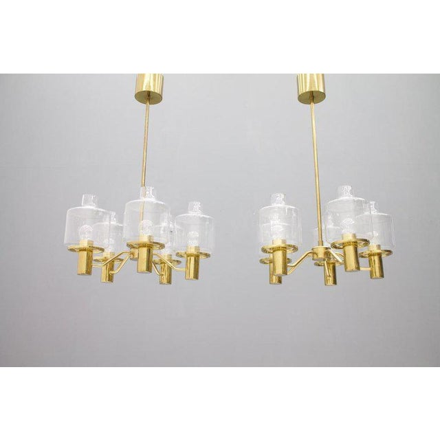 Mid-Century Modern One of Two Brass and Glass Chandelier by Hans-Agne Jakobsson for Ab Markaryd Sweden For Sale - Image 3 of 13