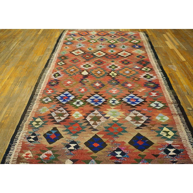 "Vintage Persian kilim 9'4"" x 5'6"", Handmade with recycled fabric."