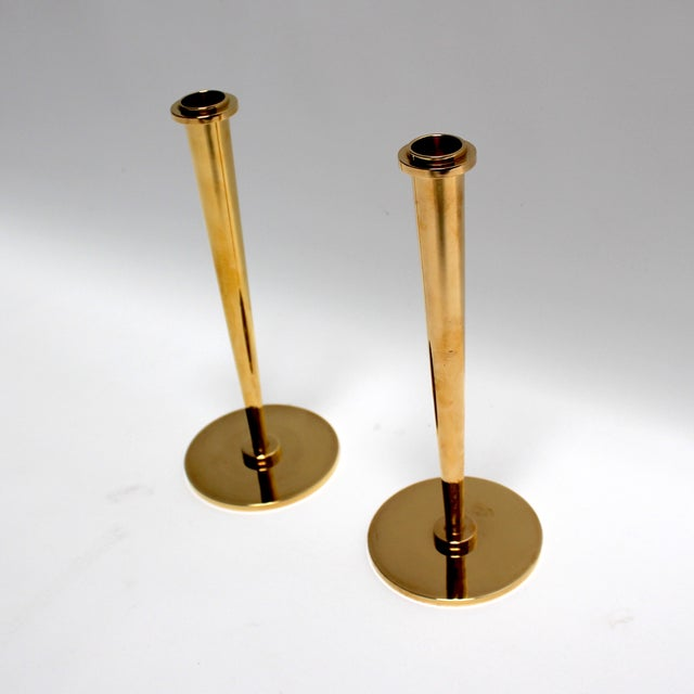 Mid-Century Modern Bronze Candlesticks - Pair - Image 3 of 8