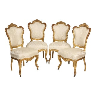 Mid 19th Century Napoleon III Gilt Wood Salon Chairs- Set of 4 For Sale
