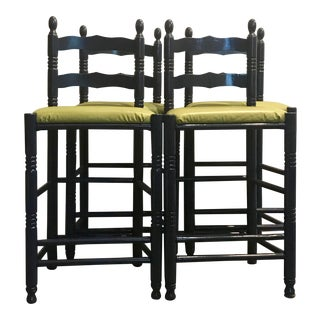 Navy Ladderback Counter Stools, S/4 For Sale