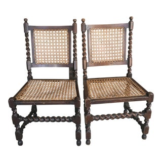 Barley Twist Caned Chairs - A Pair