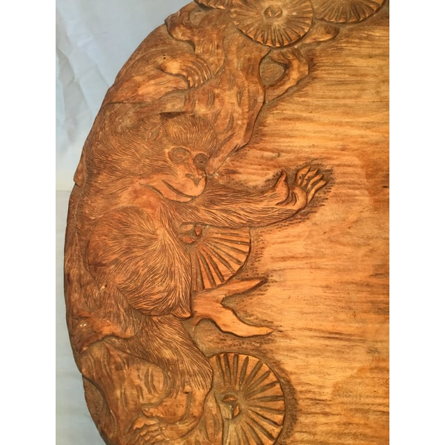 African African Carved Monkey Side Table For Sale - Image 3 of 11