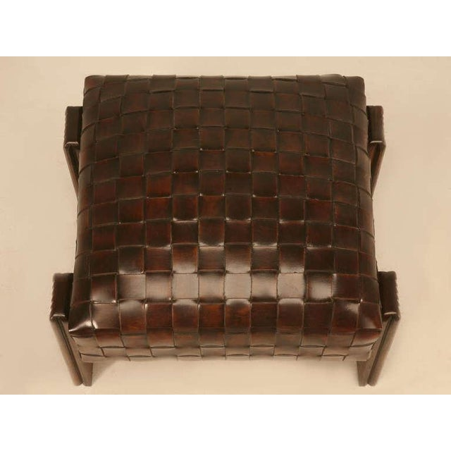 Contemporary Chic and Unique Vintage French Handwoven Leather Ottoman For Sale - Image 3 of 10
