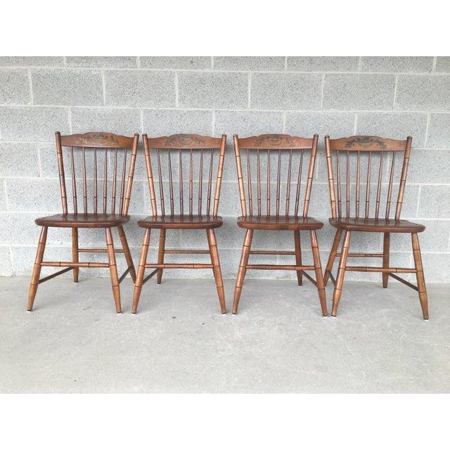 L. Hitchcock Maple Harvest Stonington Windsor Side Chairs - Set of 4 For Sale - Image 11 of 11