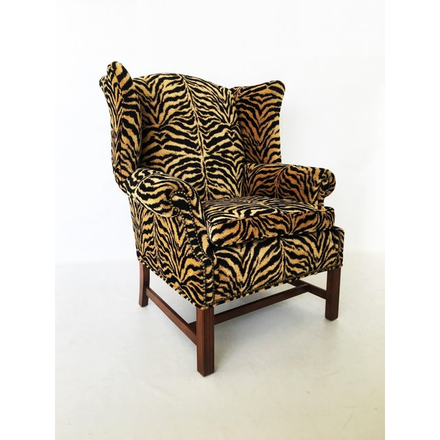 Mid 20th Century Georgian Style Mahogany Wingback Armchair in Scalamandré Le Tigre For Sale - Image 5 of 8