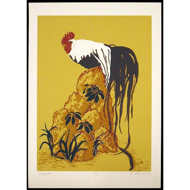 Unframed limited edition serigraph art print of a rooster in an Asian style by Marcia Mancheski. Hand signed, titled and...