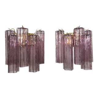 "Murano Violet Glass ""Tronchi"" Wall Sconces - a Pair For Sale"