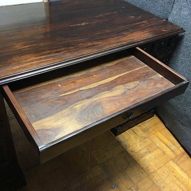 Dark Wood & Iron Gothic Desk - Image 11 of 11
