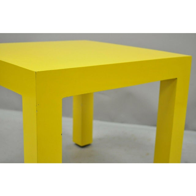 Thayer Coggin 1970s Vintage Thayer Coggin Milo Baughman Yellow Parsons Style Laminate End Table For Sale - Image 4 of 10