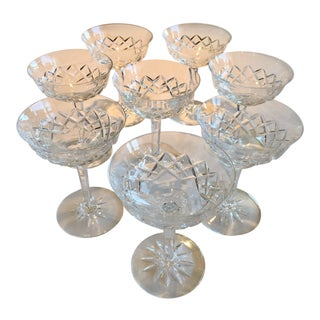 Vintage 1960s Waterford Crystal Champagne Glasses - Set of 8 For Sale