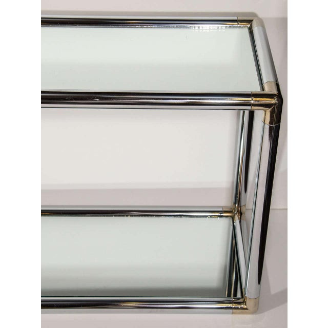 Italian Mid-Century Modern Mirrored and Chrome Two Tier Console Table, C. 1970 For Sale - Image 10 of 12