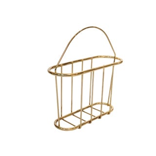 Mid Century Polished Brass Magazine Rack With a Handle, 1970s For Sale