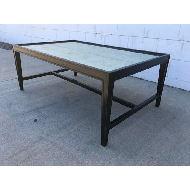 Antique Mirror Top Coffee Table With Ebonized Black Walnut Frame For Sale - Image 4 of 13