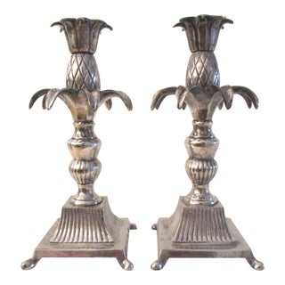 1950s Silverplate Pineapple Figural Candle Holders - a Pair For Sale