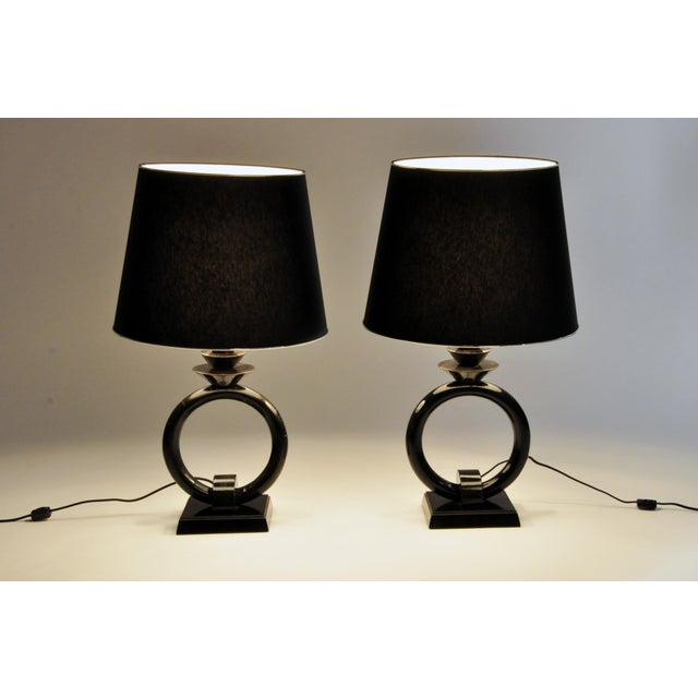Pair of Mid-Century Lamps with Black Lacquer - Image 3 of 8