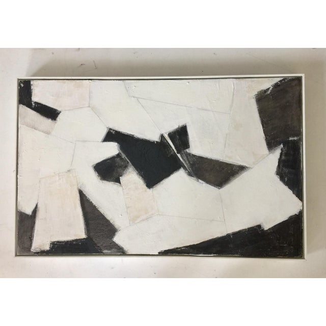 Tan Black, White and Beige Abstract Painting For Sale - Image 8 of 8
