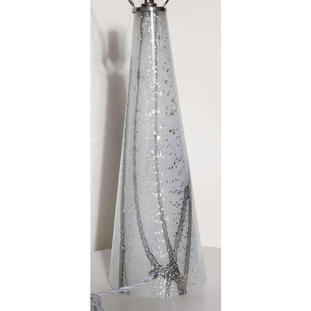 Seguso Vetri d'Arte 1960s Seguso Murano Glass Shimmering White Table Lamp With Silver Inclusions For Sale - Image 4 of 9