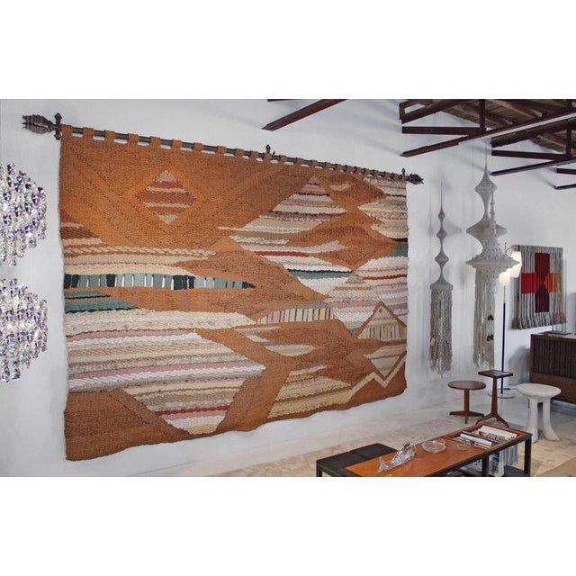 This massive raw fiber tapestry was woven by Romeo Reyna in the 1970's for a prominent family in Oklahoma. Romeo worked on...