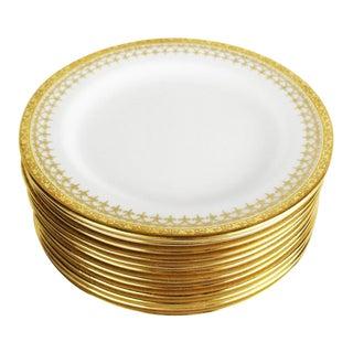 Cauldon English Gold Band Porcelain Lunch Plates - Set of 12 For Sale