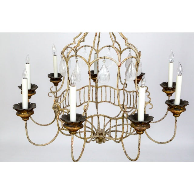 A spacious, circa 1920, Belle Epoque style, birdcage chandelier with 9 lights, and giant, half-back, smooth, rock crystal...