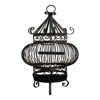 Spanish Revival Wrought Iron Scroll Birdcage For Sale