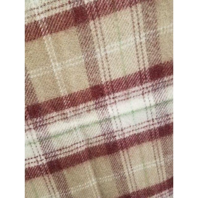 Brown Wool Throw Green, Red, Brown and White in a Plaid Design - Made in England For Sale - Image 8 of 11