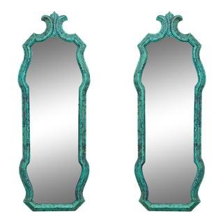 Faux Verdigris Fleur De Lis Mirrors - a Pair For Sale