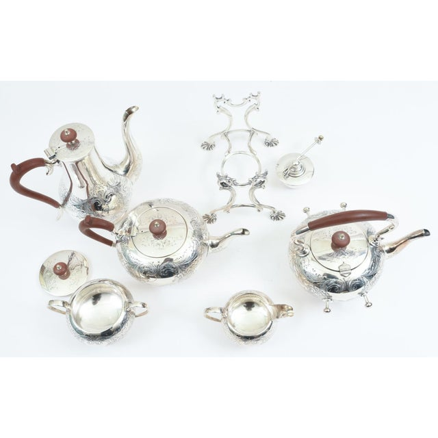 1920s English Silver Plate With Wood Handle Five-Piece Tea or Coffee Service For Sale - Image 5 of 10