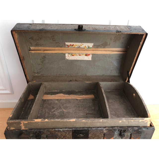 Brown Late 1800s Irish Dome Top Carriage Trunk Chest For Sale - Image 8 of 13