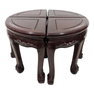 20th Century Chinese Solid Rosewood and Mother of Pearl Coffee Table, 4 Stools, 2 Demi Lunes For Sale