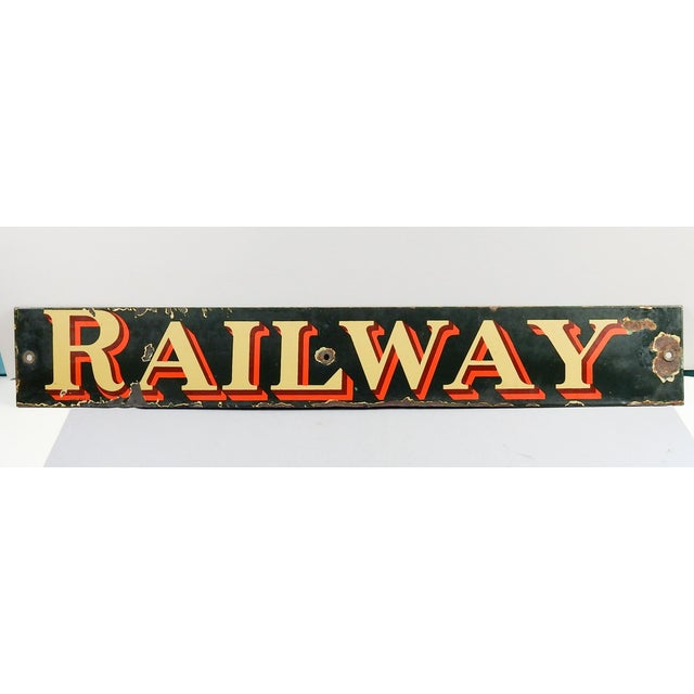 Vintage porcelain (enamel on metal) English Railway sign. Many dings around edges and grommet holes.