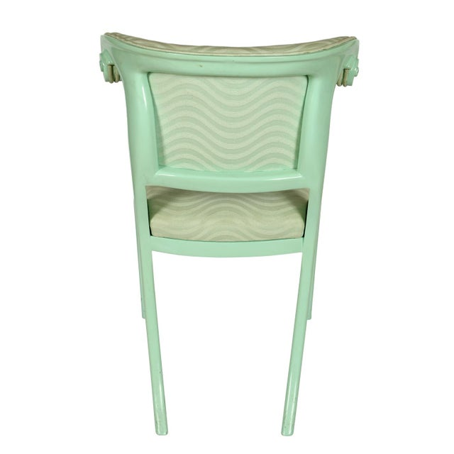 Aqua Lacquered Klismos Dining Chairs - Set of 6 For Sale - Image 4 of 5