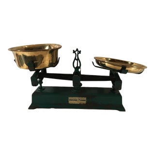 Vintage Belgian Urkens Pierre Cast Iron Scale With Brass Pans
