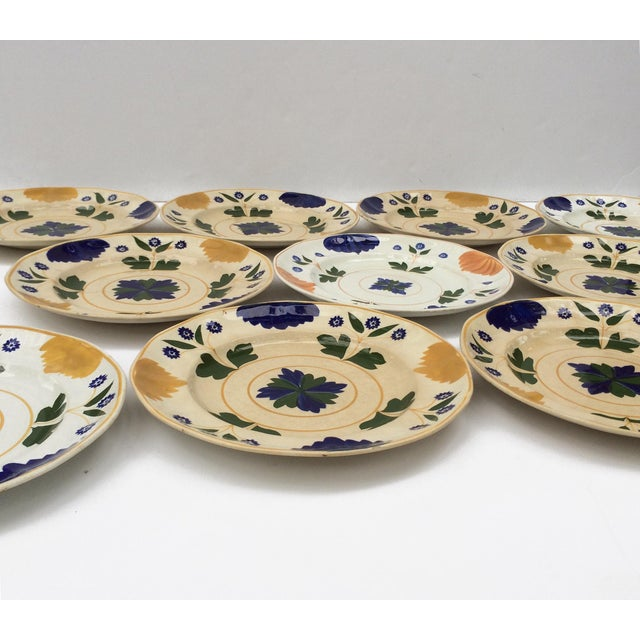 Late 18th Century Antique Adams & Sons Hand-Painted Garden Floral Luncheon Plates - Set of 10 For Sale - Image 5 of 13