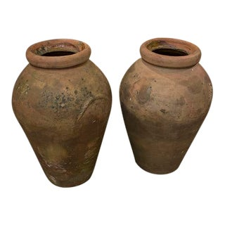Pair of Italian Terracotta Olive Pots For Sale