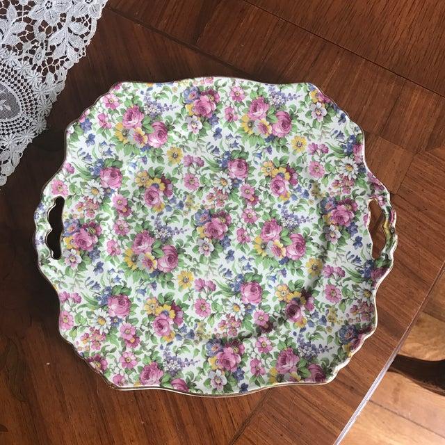 "Ceramic 1930s Vintage Chintz ""Summertime"" Platter For Sale - Image 7 of 7"