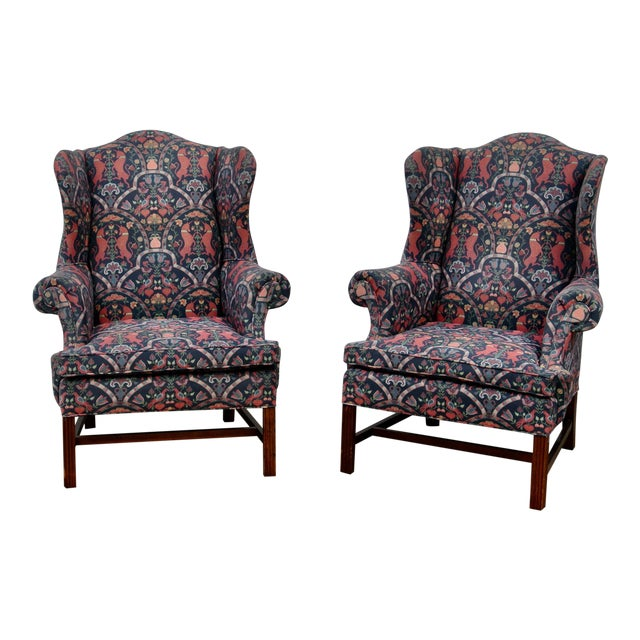 1970s Vintage Wingback Upholstered Chairs- A Pair For Sale
