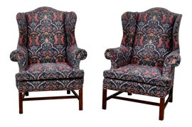 Image of Navy Blue Wingback Chairs